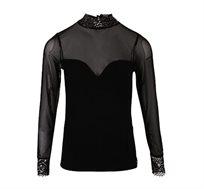 חולצה חצי שקופה לנשים מעוטרת בתחרה בצבע שחור