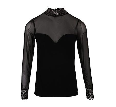 חולצה חצי שקופה לנשים מעוטרת בתחרה MORGAN - שחור