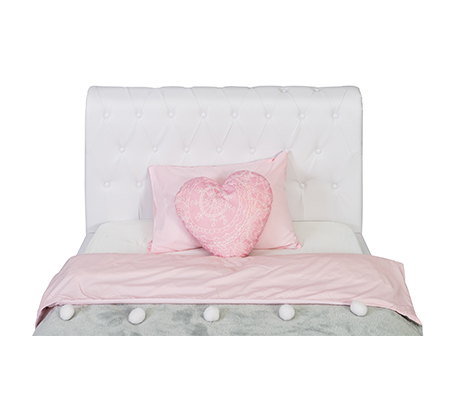 מיטת נוער/מיטה וחצי בשילוב כפתורי קפיטונאז' תואמים דגם נסיכה בצבע לבן קוקולה - תמונה 3