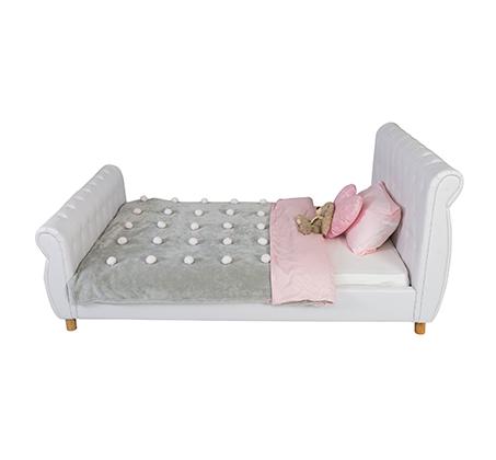 מיטת נוער/מיטה וחצי בשילוב כפתורי קפיטונאז' תואמים דגם נסיכה בצבע לבן קוקולה - תמונה 2