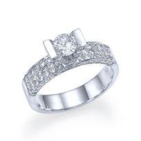 """טבעת אירוסין זהב לבן """"ויקטוריה"""" 1.01 קראט"""