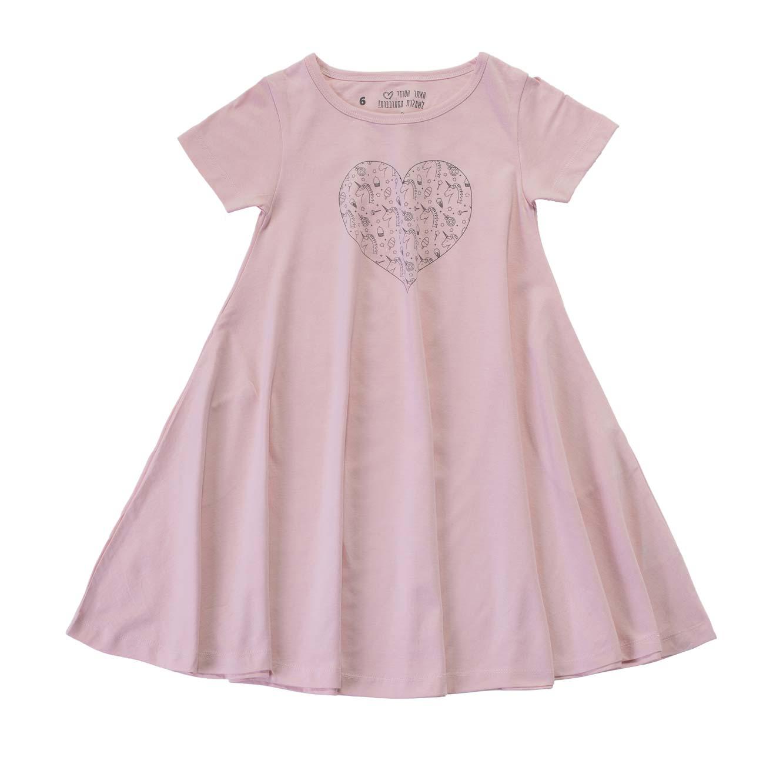 שמלה מסתובבת לב חדי קרן - ורוד