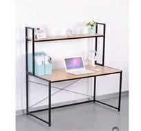 שולחן מחשב מעוצב מעץ בשילוב מתכת עם מדף עליון