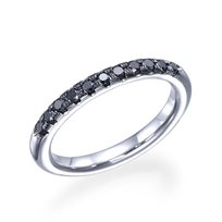 """טבעת נישואין זהב לבן """"ניקי"""" 0.25 קראט משובצת יהלומים שחורים"""