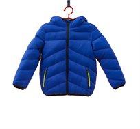 מעיל קל עם כובע גדול לילדים בצבע כחול רויאל
