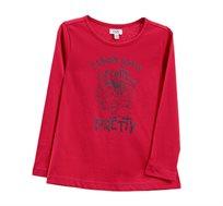 חולצה ארוכה עם הדפס לילדות בצבע אדום
