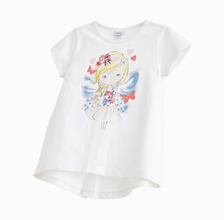 חולצה קצרה OVS לילדות - לבן עם הדפס מנצנץ
