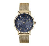 שעון יד אופנתי לאישה עם אבני סברובסקי עשוי פלדת אל חלד ועמיד במים TIMEX