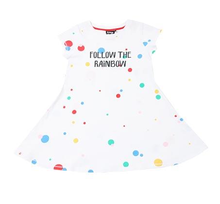 שמלה מסתובבת מנוקדת - לבן/צבעוני