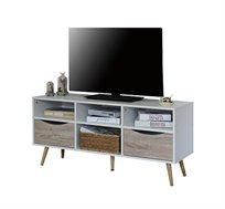 מזנון טלוויזיה בעיצוב מודרני על 5 רגלים יציבות מעץ מלא