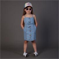 שמלת Oro לילדות (מידות 2-7 שנים) ג'ינס כפתורים