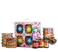 מארז שקמה הכולל מבחר מגוון של פירות יבשים, אגוזים ושקדים, צנצנת סילאן וצנצנת קונפיטורה מור ולבונה
