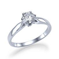"""טבעת אירוסין סוליטר זהב לבן """"גרייס"""" 0.41 F/Si1"""