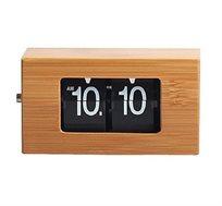 """שעון שולחני בעיצוב """"פליפ"""" עשוי עץ במבוק"""