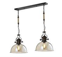 מנורת תליה 2 גופים בעלת גימור בגוון קוניאק גולדה ביתילי