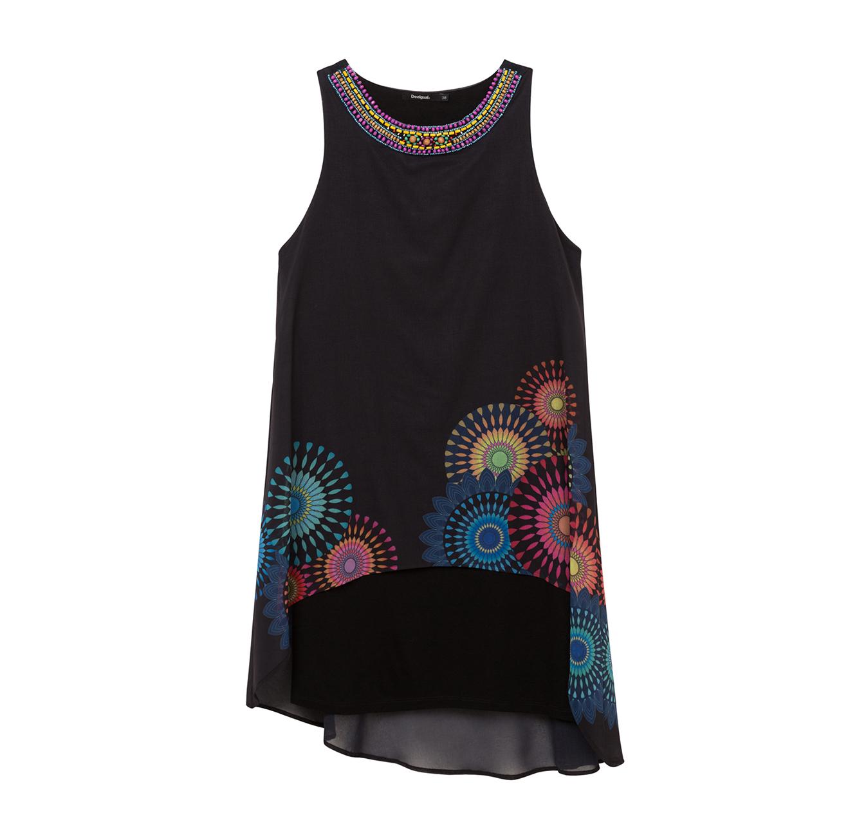 שמלה  א-סימטרית וקצרה עם הדפסי מנדלה צבעוניים וצווארון מעוטר בחרוזים - שחור