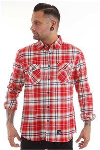 חולצת פלאנל משובצת SUPPLY בצבעי אדום ולבן