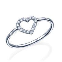 """טבעת יהלומים """"לב"""" 0.15 קראט זהב לבן"""