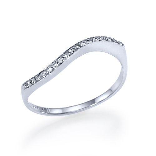"""טבעת אירוסין זהב לבן """"סידני"""" 0.15 בסגנון עדין ומיוחד"""