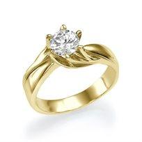 """טבעת אירוסין זהב צהוב """"ברוק"""" 0.72 קראט עם טוויסט של זהב"""
