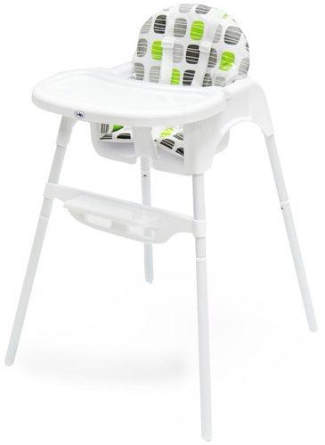 כיסא אוכל 2 גבהים עם מגש נשלף וריפוד - ירוק/אפור