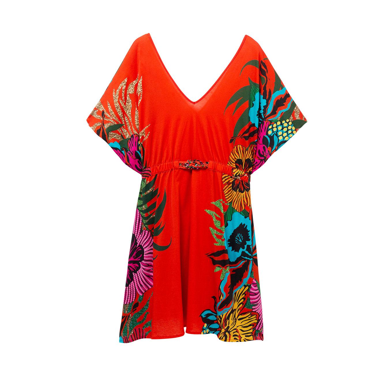 שמלת חוף בהדפס פרחוני טרופי לאישה Valeria - אדום/צבעוני
