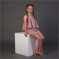 חליפת חצאית ORO לילדות (מידות 2-7 שנים) אדום משבצות
