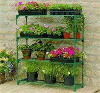 מערכת מדפים מודולארית כפולה לעציצים במרפסת או בגינה