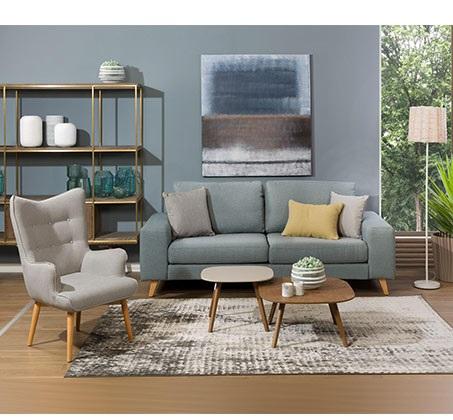 כורסה מודרנית בעלת שלדת עץ אורן ריפוד בד ומערכת תמיכת ישיבה מתקדמת דגם בסקי ביתילי  - תמונה 2