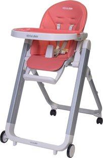כסא אוכל מעוצב לתינוק Ivolia בריפוד דמוי עור יוקרתי וקיפול סופר קומפקטי - באפרסק