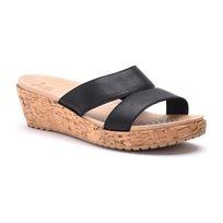 Crocs A-Leigh Leather Mini Wedge - כפכף פלטפורמה עם רצועות עור שחורות