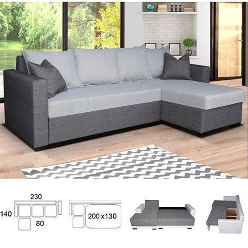 מערכת ישיבה פינתית נפתחת למיטה זוגית וארגז מצעים דגם קורל HOME DECOR - תמונה 2