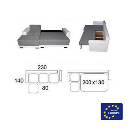 מערכת ישיבה פינתית נפתחת למיטה זוגית וארגז מצעים דגם קורל HOME DECOR - תמונה 6