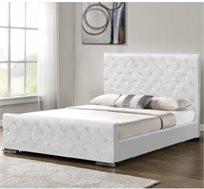 מיטה בגודל זוגי בעיצוב קלאסי ומודרני בריפוד דמוי עור לבן דגם לורד HOME DECOR