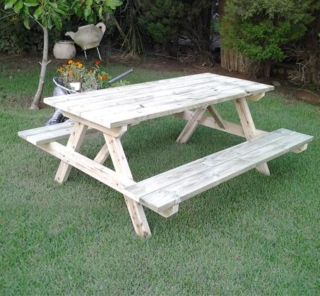 """שולחן קק""""ל מעץ אורן איכותי WOODLEE לגינה ולמרפסת"""