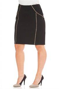 חצאית סרטים מעוצבים בצבע שחור