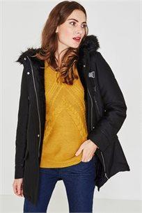 מעיל PROMOD עם כובע דמוי עור לנשים - שחור