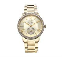 שעון יד לאישה עשוי פלדת אל חלד מוזהבת וזכוכית ספיר עמידה בפני שריטות מבית ADI