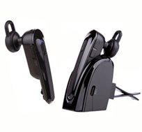 אוזנית Bluetooth שעובדת דרך פעולות קוליות, משדרת מוזיקה ומתחברת ל-2 מכשירים עם תחנת עגינה לרכב - משלוח חינם!