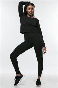 טייץ סקיני לנשים בגזרה גבוהה - שחור