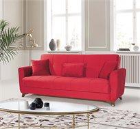 ספה תלת מושבית מרופדת נפתחת למיטה במגוון צבעים לבחירה
