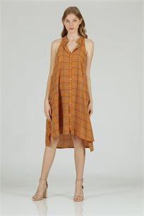 שמלה קולר מודפס כאמל - קקאו