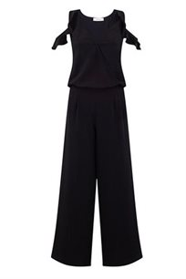 אוברול קלאסי עם כתפיים חשופות בצבע שחור