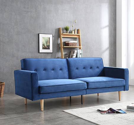 ספת אירוח מעוצבת תלת מושבית הנפתחת למיטה בצבע כחול