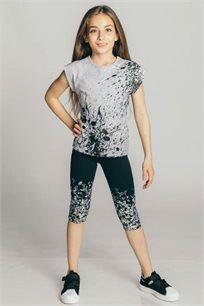 חולצת טריקו קצרה לילדות - אפור מלאנג' בהיר