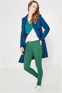 סקיני ג'ינס גברדין לנשים בצבע ירוק