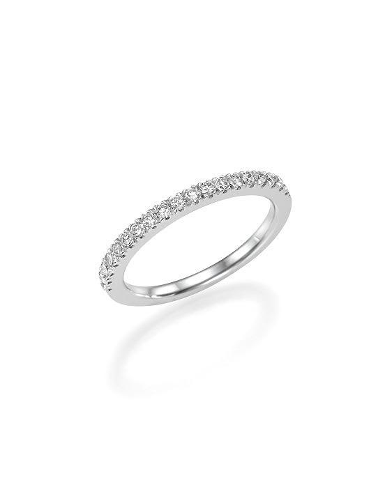 טוב מאוד טבעת זהב 14 קראט משובצת שורה של יהלומים לבנים במשקל כולל של 0.20 RT-07