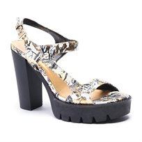 Desigual Shoes Venice - נעל עקב עם הדפס אופנתי בצבע שחורזהב