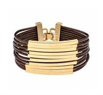 צמיד צינורות מלבנים בציפוי זהב 24 קראט עם עור חום