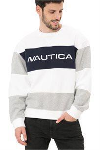 סווטשירט Nautica עם צווארון עגול לגברים דגם K935951SW בצבע פסים לבן/אפור/כחול